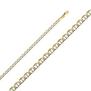 14K Yellow 4.4mm Flat Mariner Pave Chain - 20""